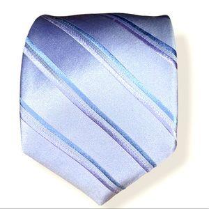 DKNY men's 100% silk purple stripe tie